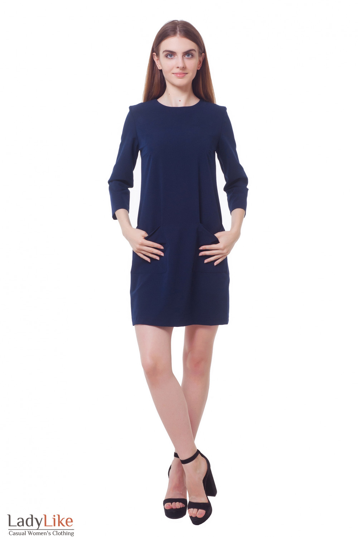 Купить платье темно-синее с накладными карманами Деловая женская одежда