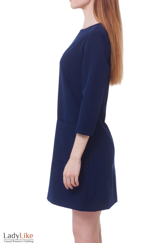 Купить платье синее с накладными карманами Деловая женская одежда