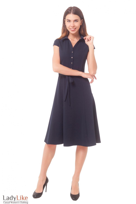 Купить платье темно-синее с пуговицами впереди Деловая женская одежда