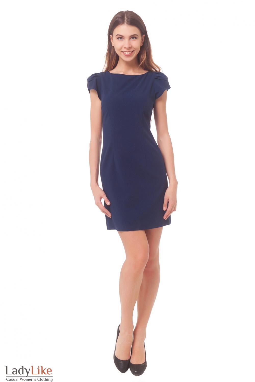 Купить платье синее с рукавом фонариком  Деловая женская одежда