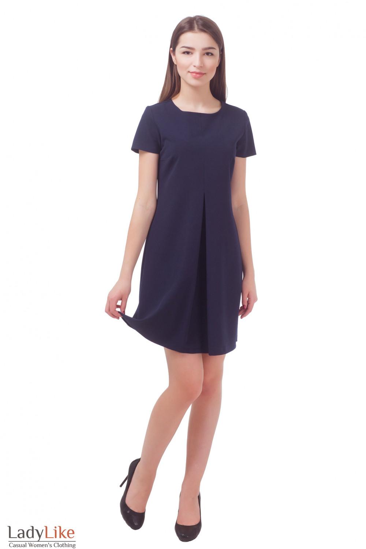 Купить платье темно-синее со складкой Деловая женская одежда