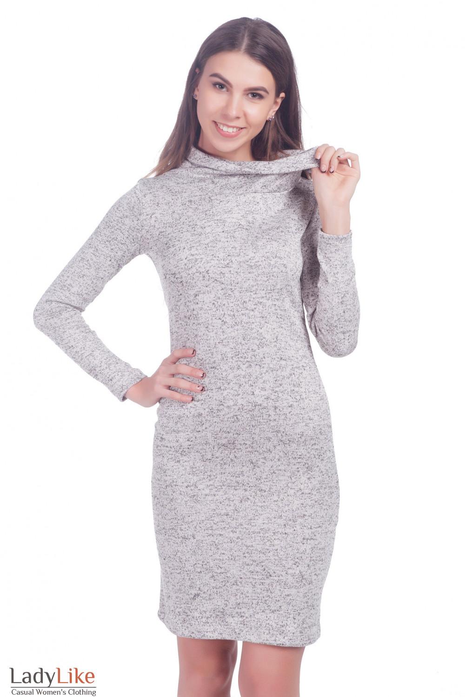 Платье теплое трикотажное светло-серое — купить в интернет-магазине ... 0831144f38f