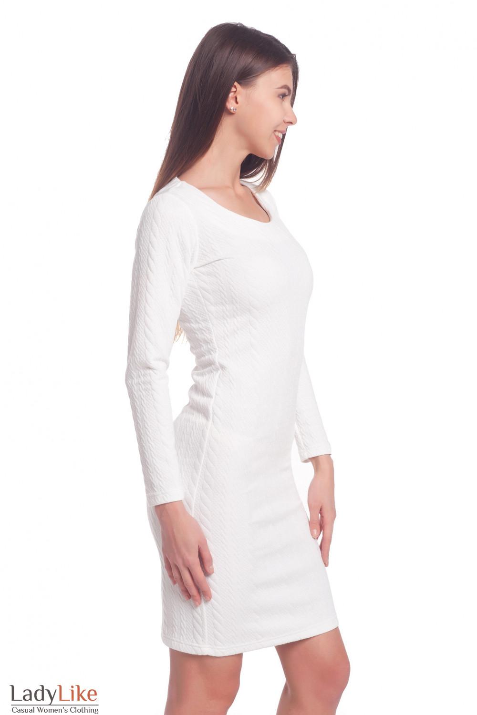 Купить трикотажное белое платье Деловая женская одежда