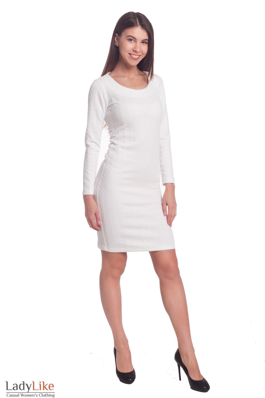 Купить нарядное трикотажное белое платье Деловая женская одежда
