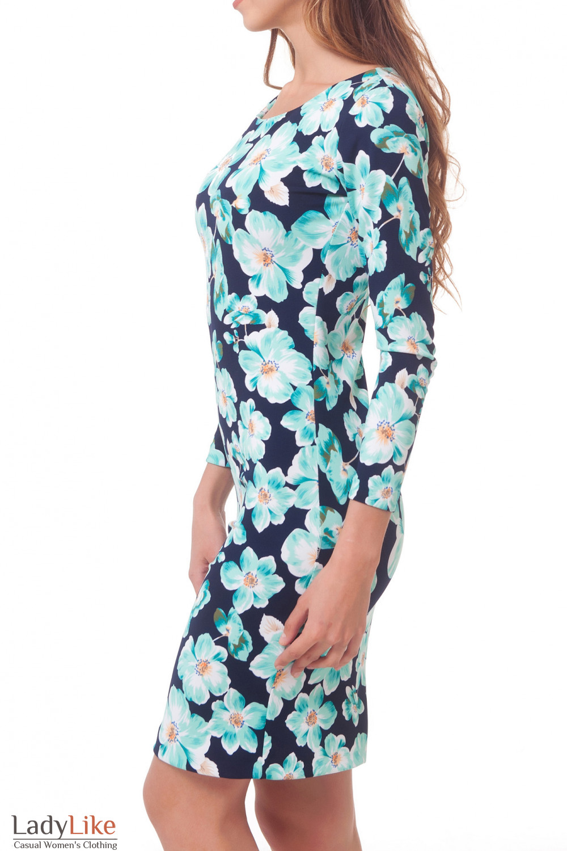 Купить платье в бирюзовые цветы Деловая женская одежда