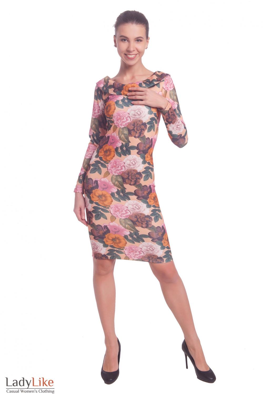 Купить вечернее платье в цветы с открытой спиной Деловая женская одежда