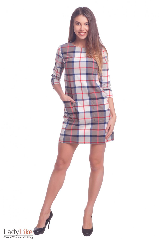 Купить платье в серо-белую клетку с карманами Деловая женская одежда