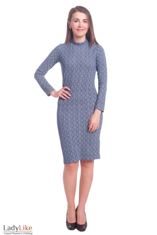 Купить платье в синий узор Деловая женская одежда
