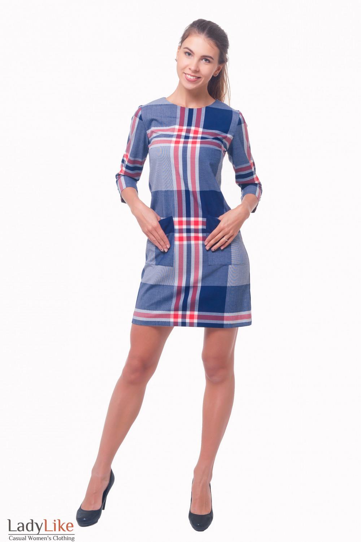 Купить платье в синюю клетку с накладными карманами Деловая женская одежда