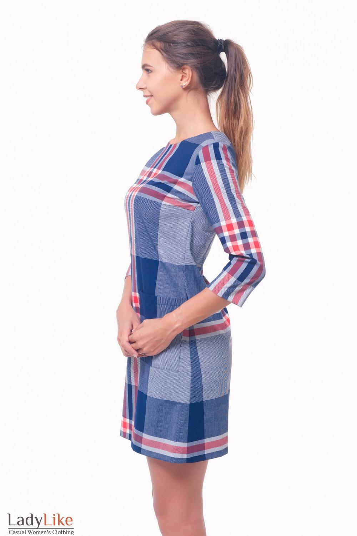 Купить платье в клетку с накладными карманами Деловая женская одежда
