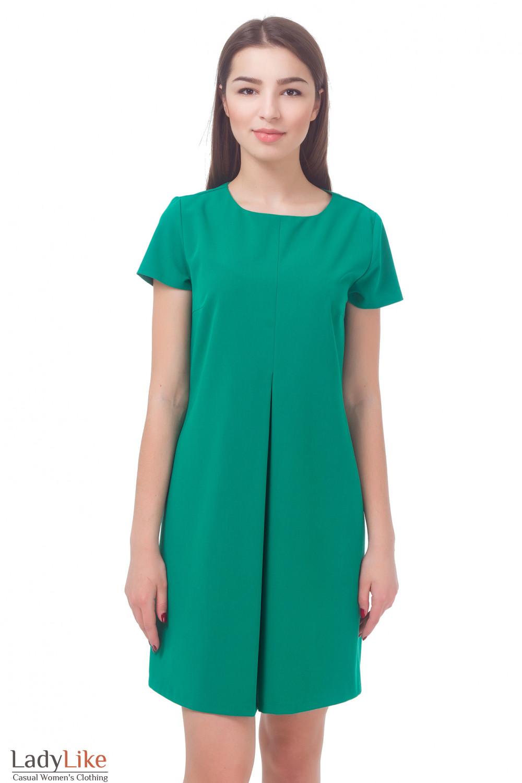 Платье зеленое со встречной складкой Деловая женская одежда