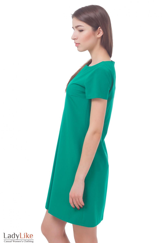 Купить платье зеленое со складкой впереди Деловая женская одежда