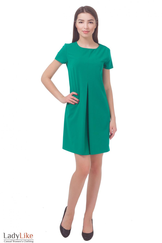 Купить платье зеленое со встречной складкой Деловая женская одежда