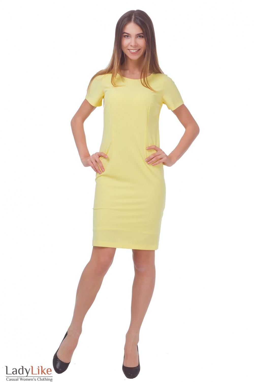 Купить платье желтое с коротким рукавом Деловая женская одежда