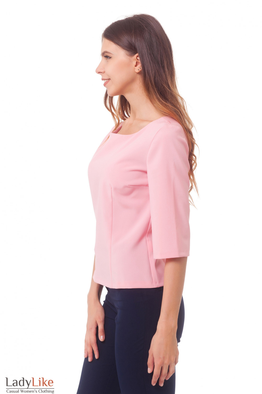 Купить розовую блузку с рукавом в три четверти Деловая женская одежда