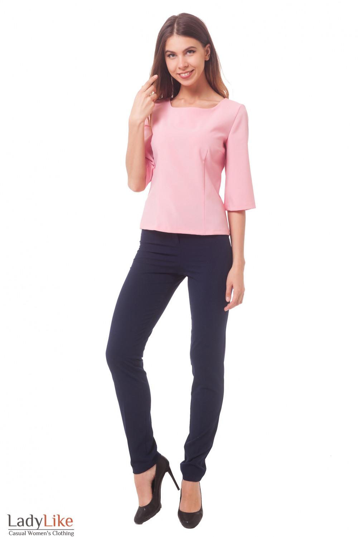 Купить розовую блузку с рукавом Деловая женская одежда
