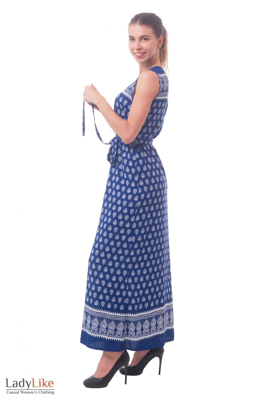 Купить синее длинное платье в белый узор Деловая женская одежда