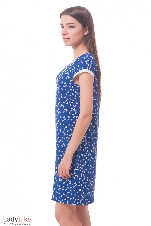 Купить синее платье в белые бабочки Деловая женская одежда