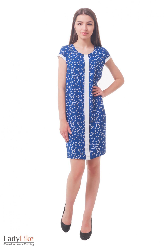 Купить синее платье с белой вставкой Деловая женская одежда