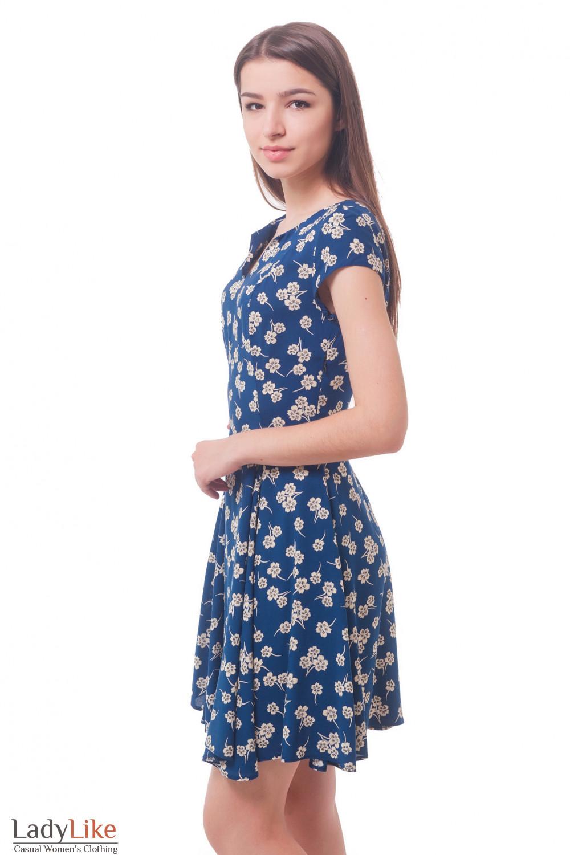 Купить синее платье в серый цветок Деловая женская одежда