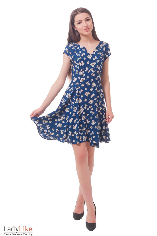 Купить синее платье в цветок  Деловая женская одежда