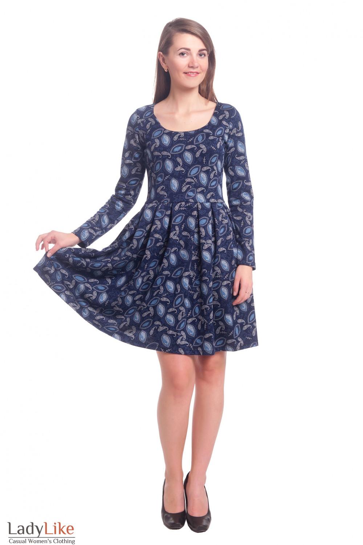 Купить синее трикотажное платье в голубые огурцы Деловая женская одежда