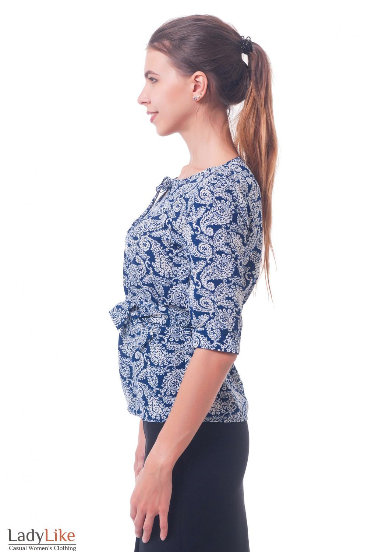 Купить синюю блузку в белые огурцы Деловая женская одежда