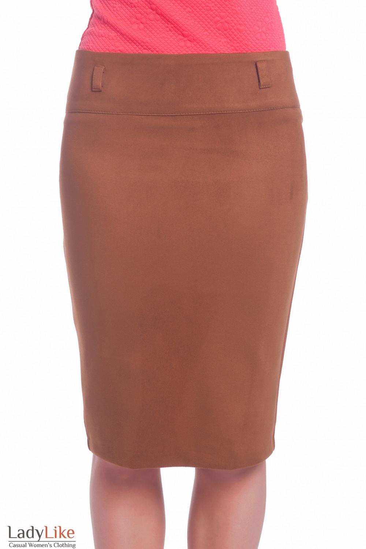 Теплая коричневая юбка из замша. Деловая женская одежда
