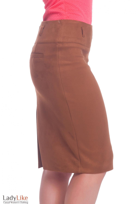 Купить теплую юбку из замша. Деловая женская одежда