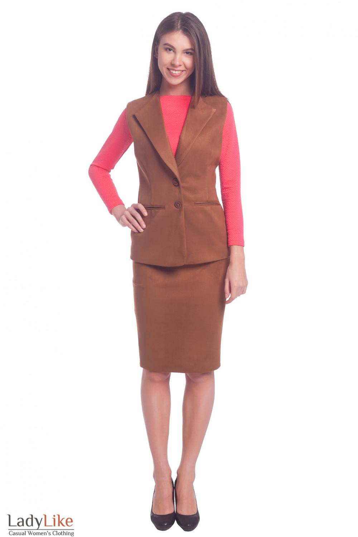 Купить теплый женский костюм из замша Деловая женская одежда