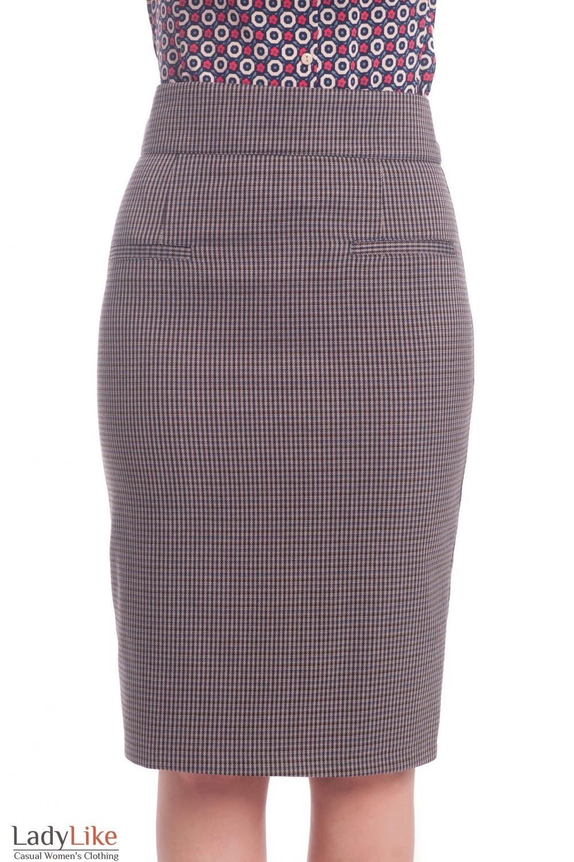 Теплая юбка в коричневую лапку Деловая женская одежда