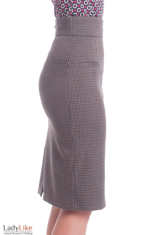 Купить теплую юбку в коричневую лапку Деловая женская одежда