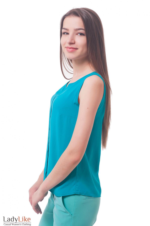 Купить топ бирюзовый со складочкой Деловая женская одежда