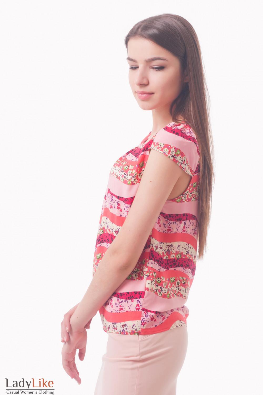 Топ в розовый узор Деловая женская одежда