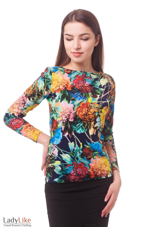 Туника трикотажная в крупные цветы Деловая женская одежда