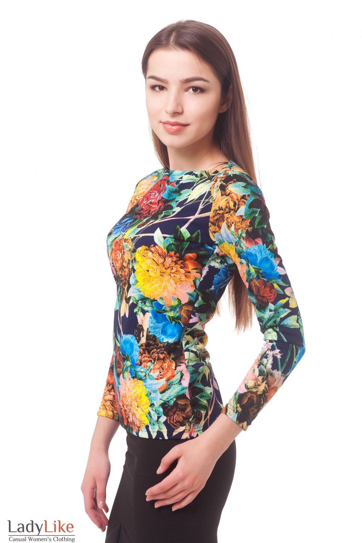 Купить тунику трикотажную в крупные цветы Деловая женская одежда