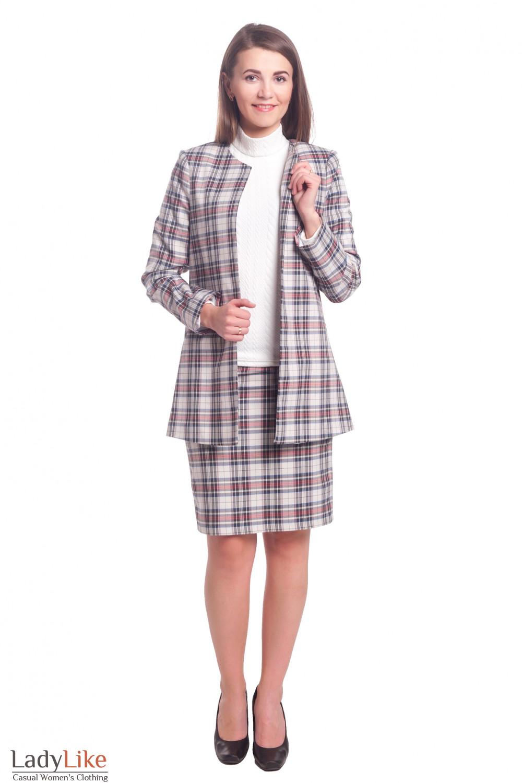 Купить женский костюм в клетку Деловая женская одежда
