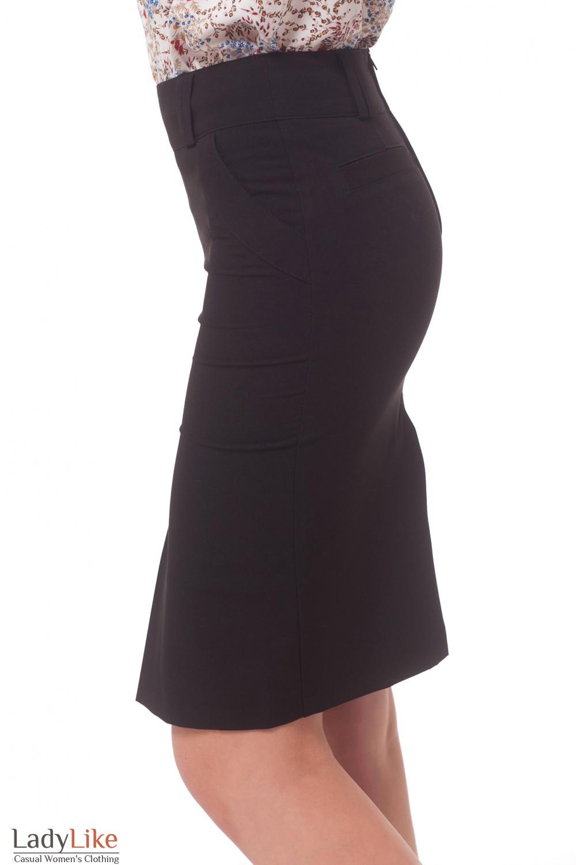 Купить юбку черную со встречной складкой Деловая женская одежда