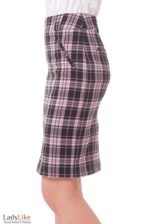 Купить юбку черную в розовую клетку Деловая женская одежда