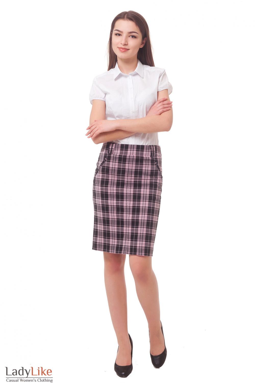Купить юбку в розовую клетку Деловая женская одежда