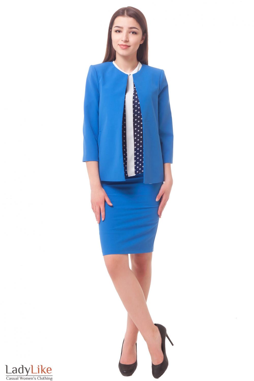 Купить женский голубой костюм Деловая женская одежда