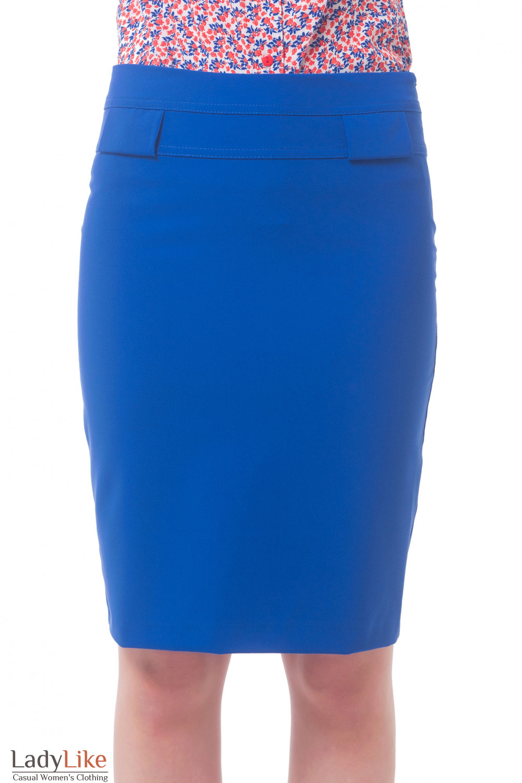 Юбка индиго с двойной кокеткой Деловая женская одежда