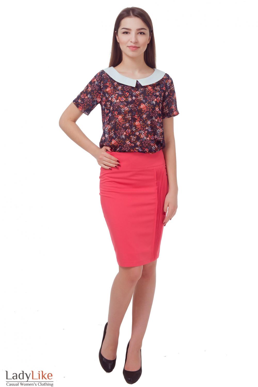 Купить юбку коралловую с защипами Деловая женская одежда