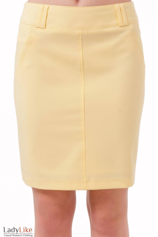 Фото Юбка короткая желтая Деловая женская одежда
