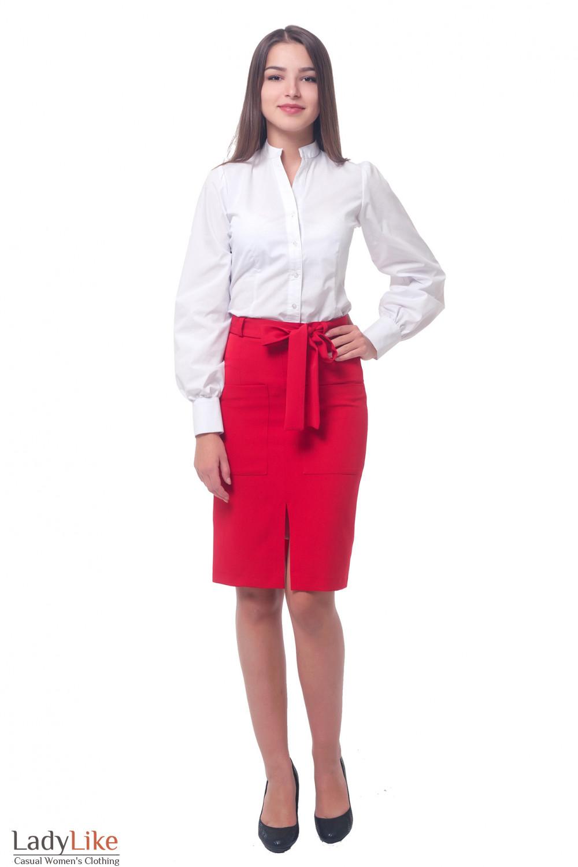 Купить красную юбку с поясом Деловая женская одежда