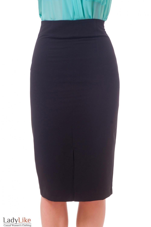 Фото Юбка с высокой талией черная удлиненная Деловая женская одежда