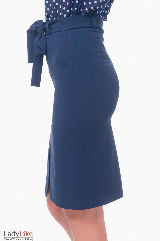 Купить юбку синюю с накладными карманами Деловая женская одежда