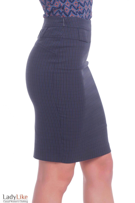 Купить синюю теплую юбку в мелкую клетку. Деловая женская одежда