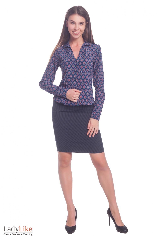 Купить синюю юбку в мелкую черную клетку. Деловая женская одежда