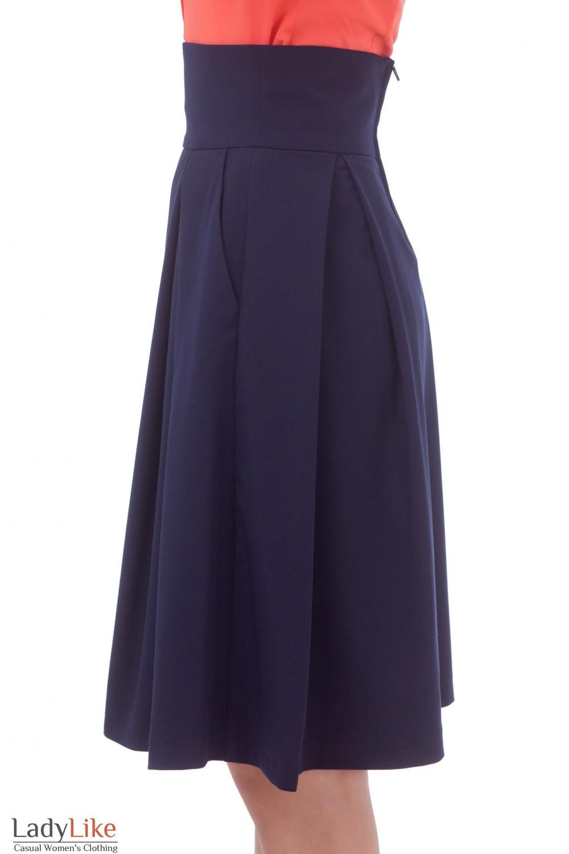 Купить юбку синюю в складку  Деловая женская одежда
